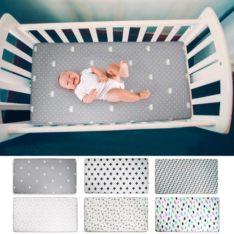 Newborn Organic Cotton Fitted Baby Crib Sheet Soft Mattress Cover Bedspread Baby Nursing Sheet Bedding Props For Baby Care image
