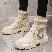 LZJ г. Новые модные зимние ботинки на платформе женская обувь черные ботинки на шнуровке замшевые ботильоны без застежки с пряжкой, botas Mujer