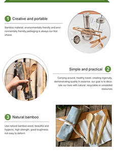 Cutlery-Set Utensils Flatware Toothbrush Carrying-Case Wood Bamboo-Charcoal Reusable