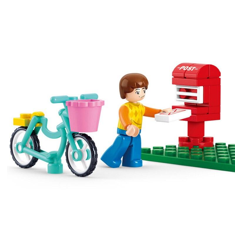 28pcs Girl Friends Bicycle Sending A Letter Building Blocks Brick  Technic Playmobiler Toys For Children Bricks Educational Toys