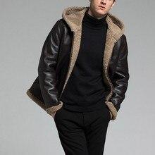 Original schaffell leder hut mantel winter motorrad leder mantel leder mantel große mantel