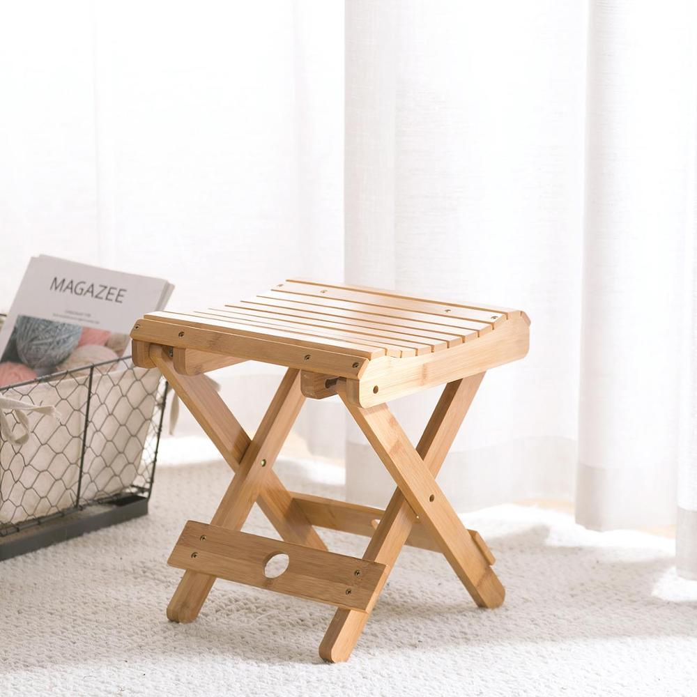 Bamboo Foldable Step Stool Portable Change Shoes Bench Adult Small Chair Household Outdoor Fishing Folding Chairs Bench