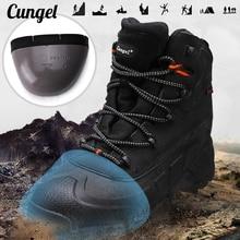Erkek yürüyüş botları çelik burunlu güvenlik ayakkabıları erkekler koruma iş çizmeleri su geçirmez anti çarpışma ayakkabıları ile demir avcılık için