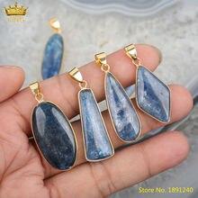 5 шт Натуральный Синий Кианит Овальные ромбовидные бусы кулон