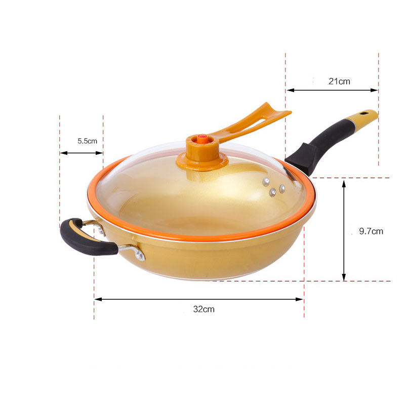 Non-stick Copper Frying Pan Without Fume Coating And Induction Cooking Gold Vacuum Health Pot For Gas And Induction Cooker  Wok