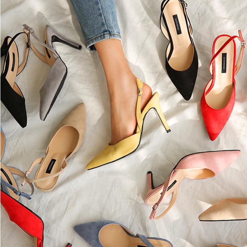 2020 Women Shoes Sandals Women Slingback Sandals Thin High Heels Pumps Women Stiletto Ladies Shoes Nude Black Suede Bridal Shoes