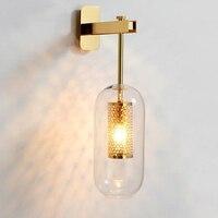 Iluminação interior moderna lâmpada de parede led ouro/preto metal vidro criativo arandela luz para o quarto cabeceira corredor escada
