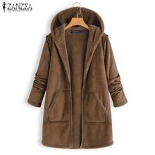 ZANZEA Winter Plush Fluffy Faux Fur Coats Women Hoodies Long Sleeve Warm Jackets Casual Hooded Fur Lining Outerwear Zipper Coat