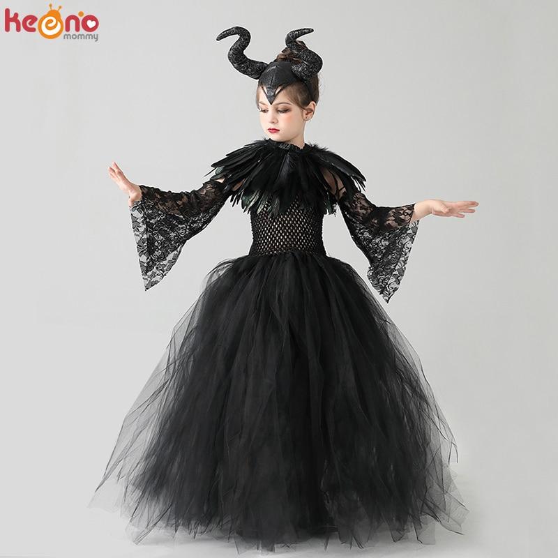 Niños negro diablo Tutu traje gótico Halloween niñas tutú elegante vestido con pluma chal real reina oscura maléfica vestido