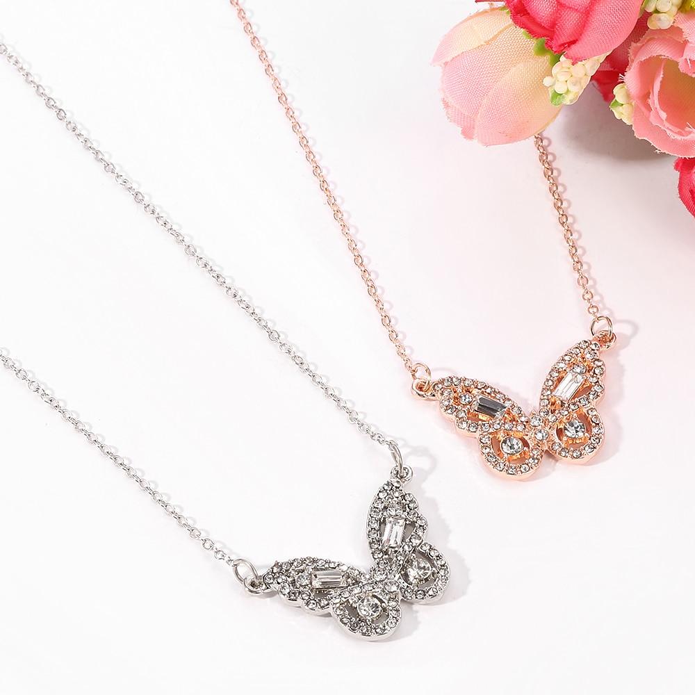 Collier papillon en zircone pour femmes et filles, breloque, or Rose, pendentif, offre spéciale, nouvelle collection