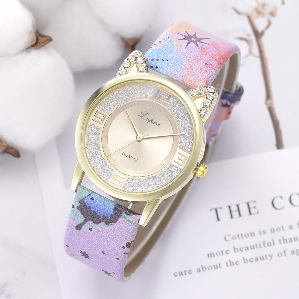 Fashion Top Brand Women Watch Ladies Cat Face Dial Clock Flower Printed Silicone Quartz Wrist Watch Leather Diamond Montre Femme in Women 39 s Watches from Watches