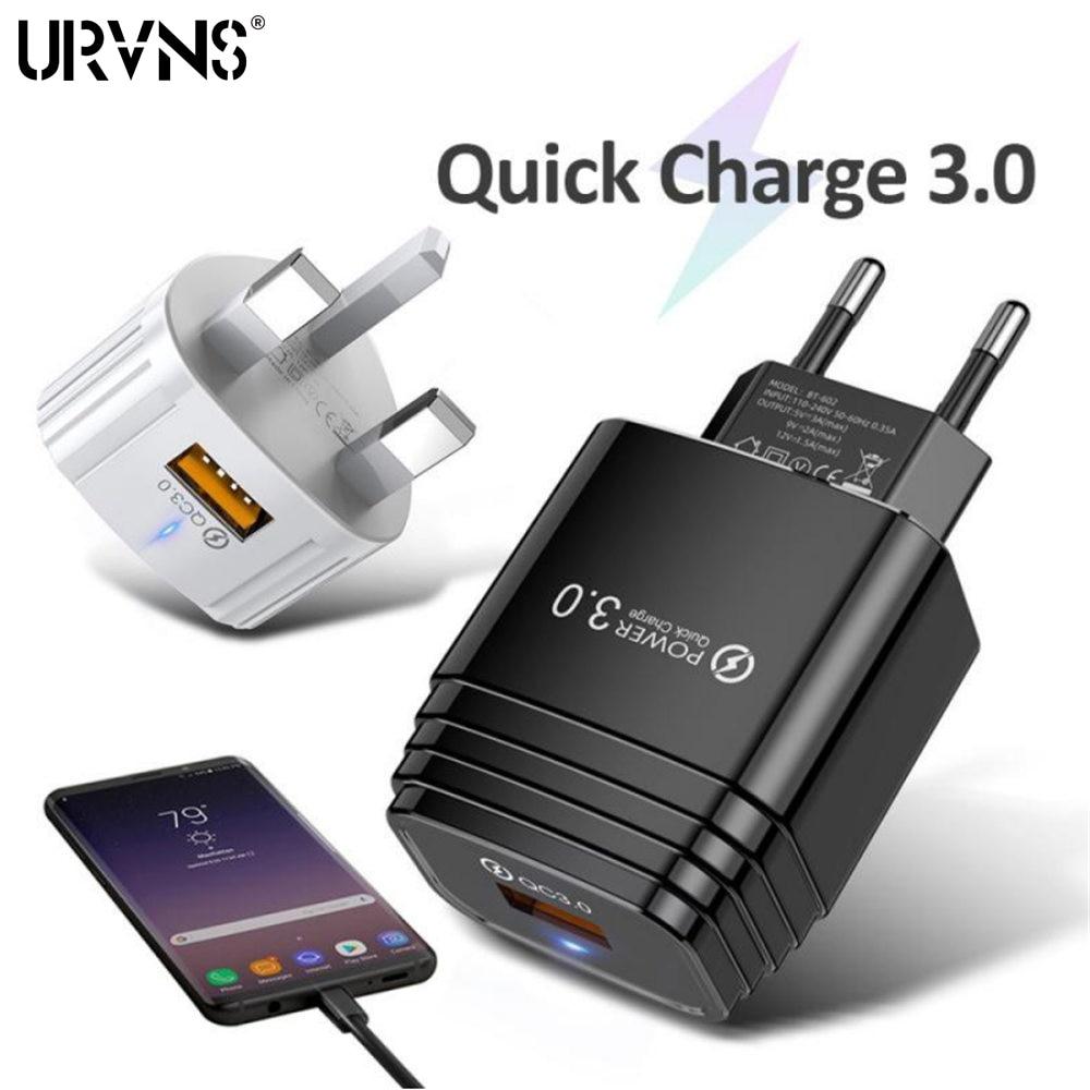Устройство зарядное USB URVNS, быстрая зарядка QC 3,0, 18 Вт, быстрая зарядка, вилка для ЕС, США, Великобритании, настенный адаптер для iPhone, Samsung, Xiaomi