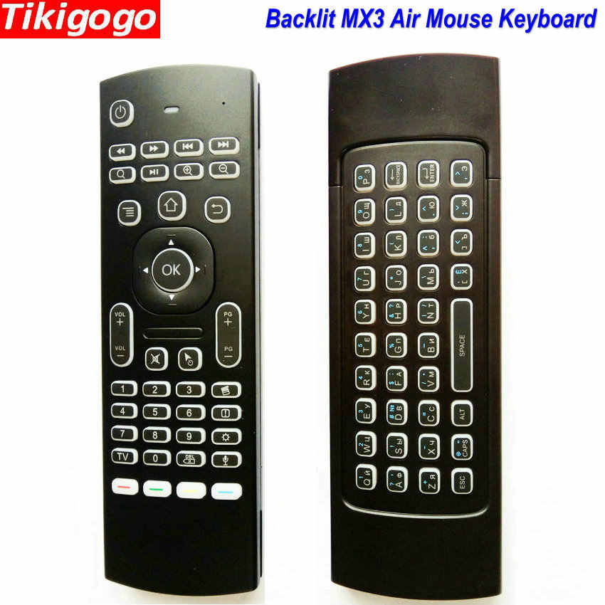 MX3 Lampu Latar Suara Udara Mouse Keyboard Rusia 5 IR Belajar Kunci untuk Android Smart TV Box PC PK G30 g30s Remote Control
