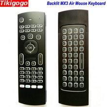 MX3 תאורה אחורית קול אוויר עכבר מקלדת רוסית אנגלית 5 IR למידה מפתחות עבור אנדרואיד חכם טלוויזיה תיבת מחשב PK G30 g30s שלט רחוק