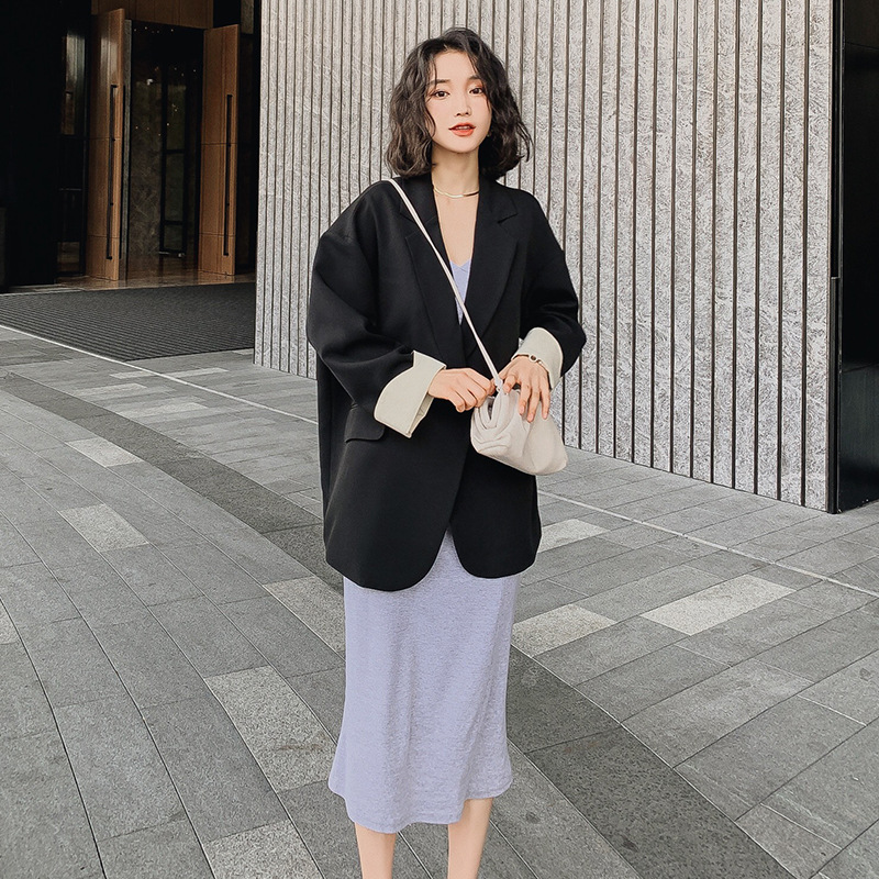 Spring 2020 new solid color women's blazer Korean casual plus size jacket feminine Elegant loose double-breasted suit