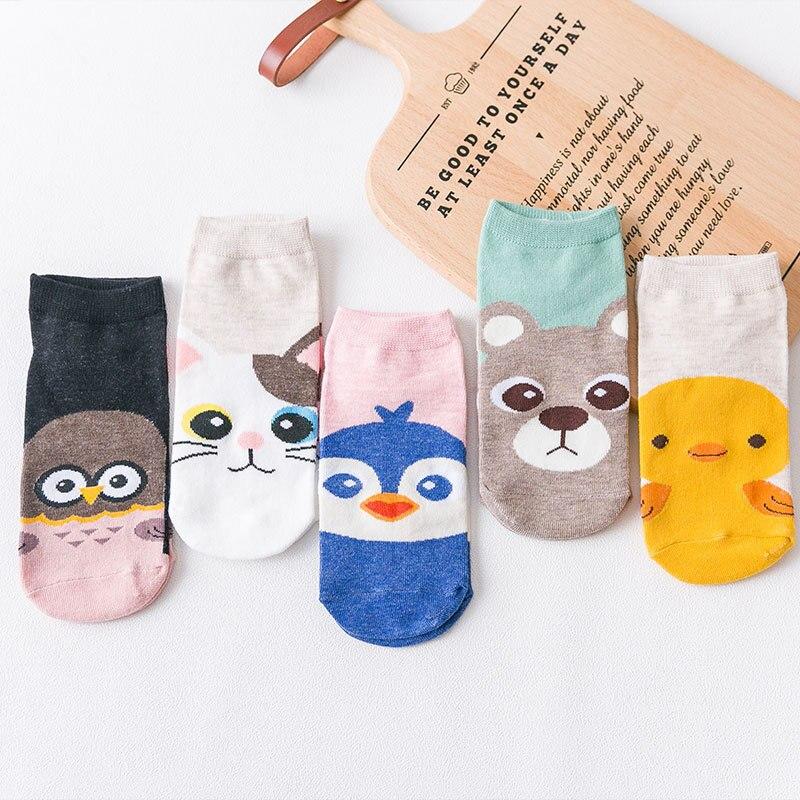 Spring Summer New Women Cotton Boat Socks Cat Penguin Bear Bird Cute Animal Ankle Socks Short Casual Straight Short Girl Sock