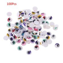 Eyes Doll-Bear 100pcs with Eyelashes for Stuffed-Toy DIY Craft L4MC Self-Adhesive Mixed-Color