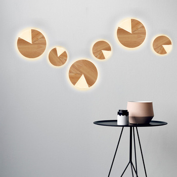 Nordic children's puzzle wall lamp modern simple living room study dining room children's bedroom bedside log wall lamp