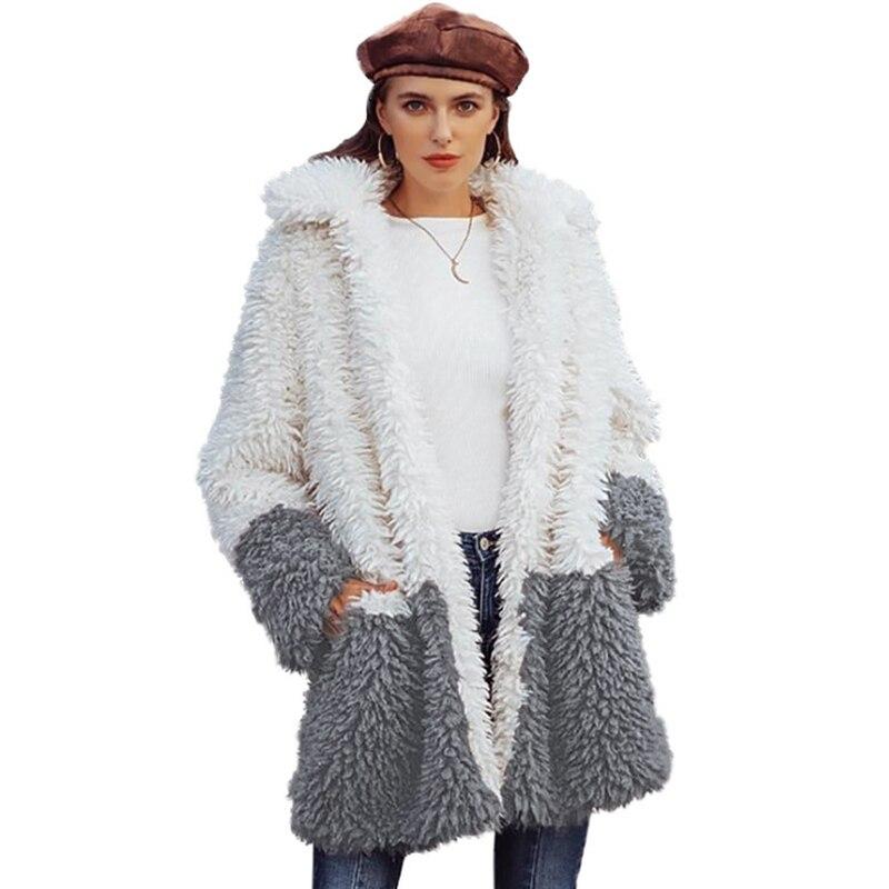 2019 Plush Coat Women Fur Lamb Thicken Winter Warm Long Sleeve Female Jackets Overcoat Outerwear Faux Fur Coat For Women