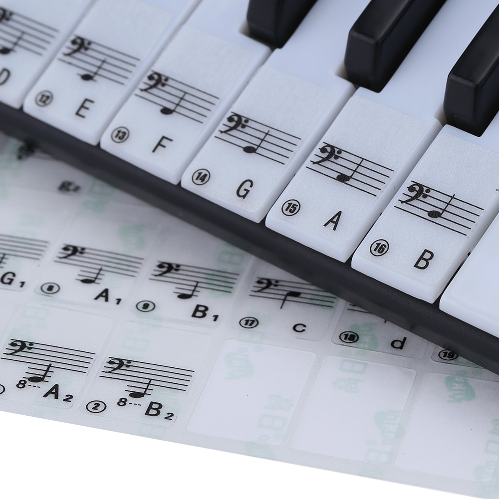 Piano Sticker Transparent 49 61 Key Electronic Keyboard 88 Key Piano Music Decal Label Note Sticker for White Keys