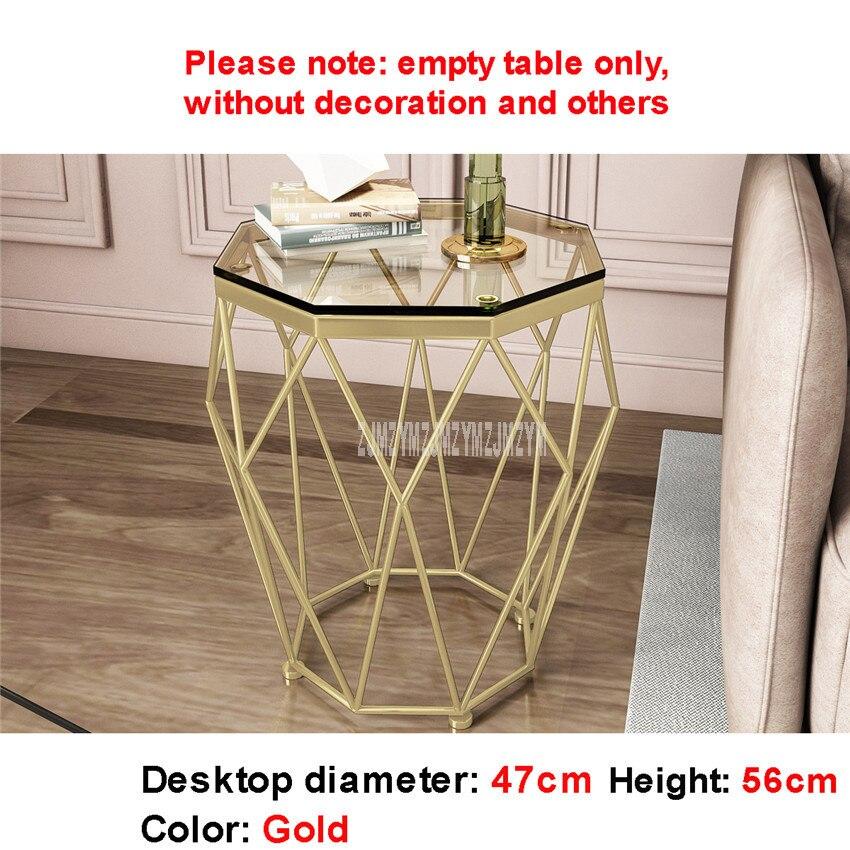 47cm nordique géométrie fer Art Table à thé créatif petit verre trempé bureau fer jambe salon Table mode meubles de maison - 6