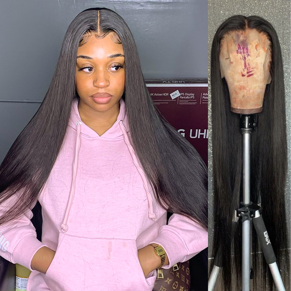 Wigirl 28 30 дюймов бразильские прямые волосы бесклеевого фронтальной 13x4 Синтетические волосы на кружеве человеческие волосы парики предварите...