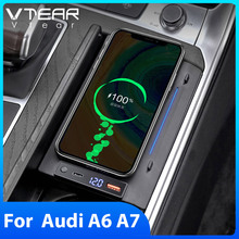 Vtear 15W Fast QI Car Wireless Charger Charging For Audi A6 C8 A7 2019 2021Interior Modification Accessories Phone Holder Pad