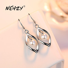 NEHZY 925 sterling silver earrings jewelry high quality new retro simple heart-shaped hollow freshwater pearl earrings hot sale