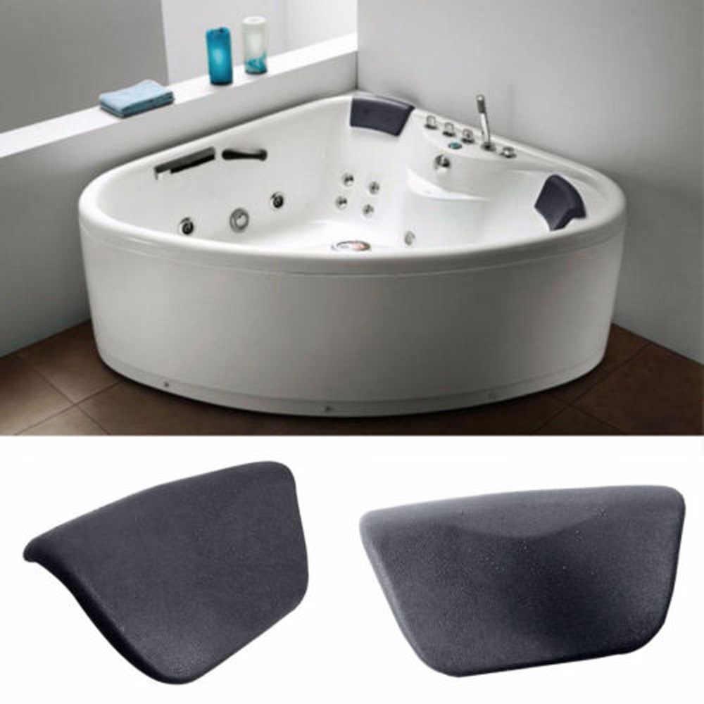 Black Non-slip Foam Spa Bath Pillow Neck Back Support Comfort Bathtub Cushion