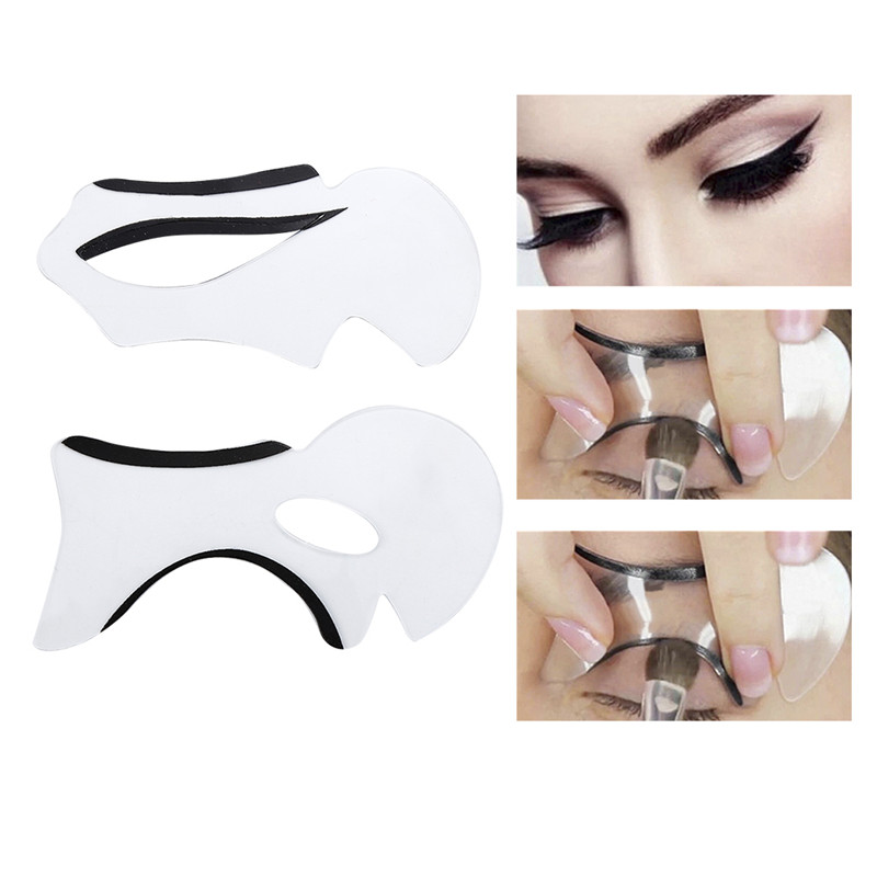 2pcs Eyebrow Stencils Cat Eye&Smokey Eye Makeup Eyeliner Models Card Stencil Template NEW Charm Lady Shaper Bottom Liner Tools