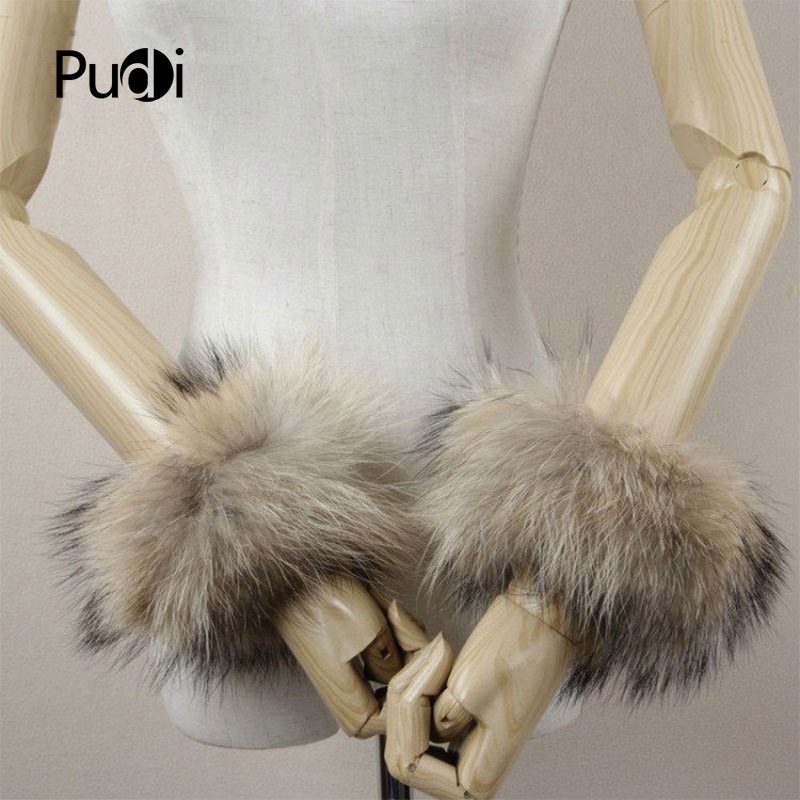 CUF701 Real Genuine High Quality Raccoon Fur Cuffs Cuff Real Natural Fox Fur Cuffs Cuff