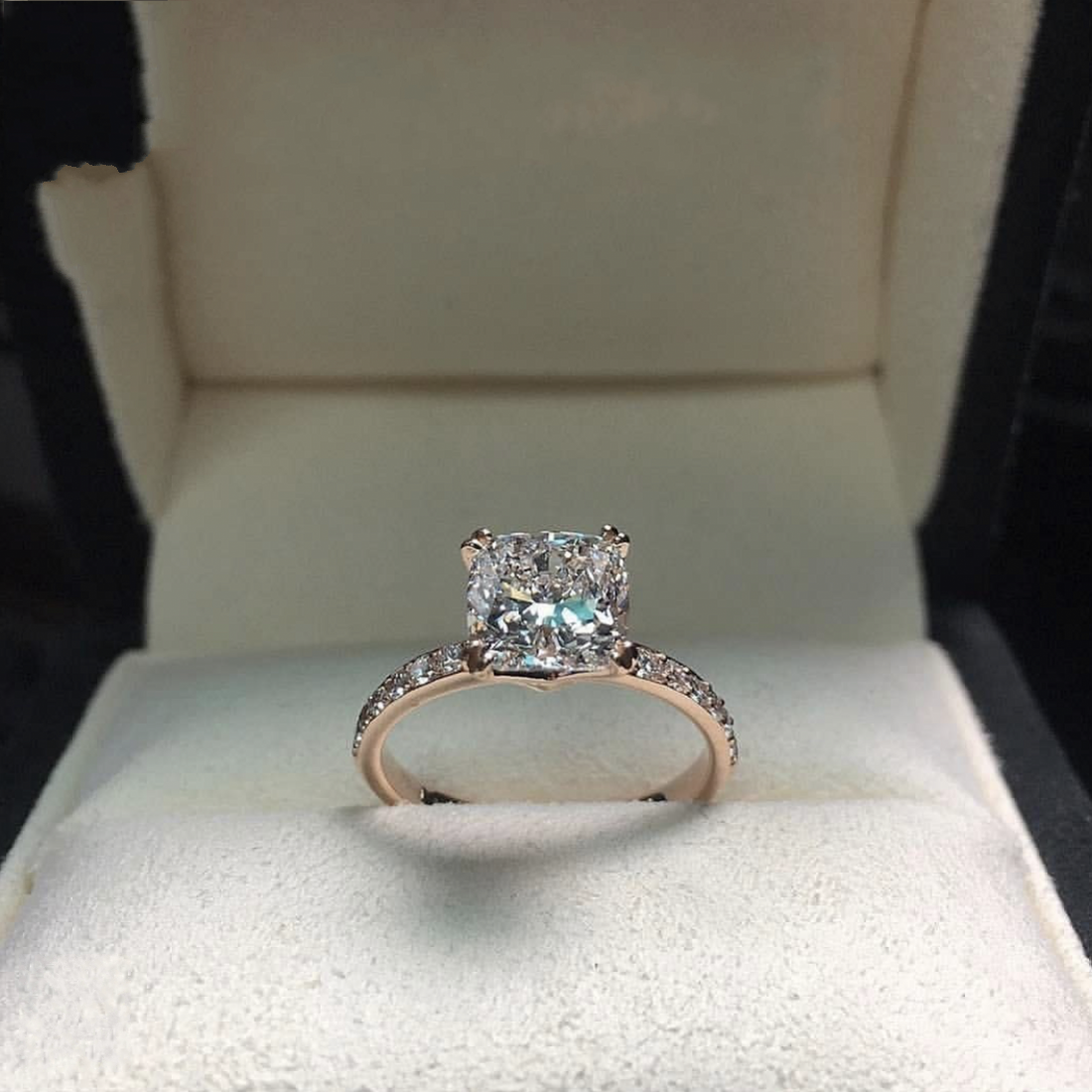 Real Solid 925 Sterling Silver Ring Four Claws 2Ct Cushion Cut Diamond Wedding Engagement Rings For Women Fine Jewelry Gift