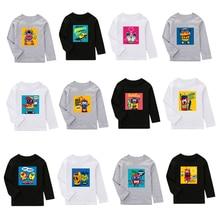 2019 Autumn Winter Kids Clothes Long Sleeve Boy T-shirts Cartoon Print Kids T shirt For Boys Sweatshirts Baby Girls Tees Tops недорого