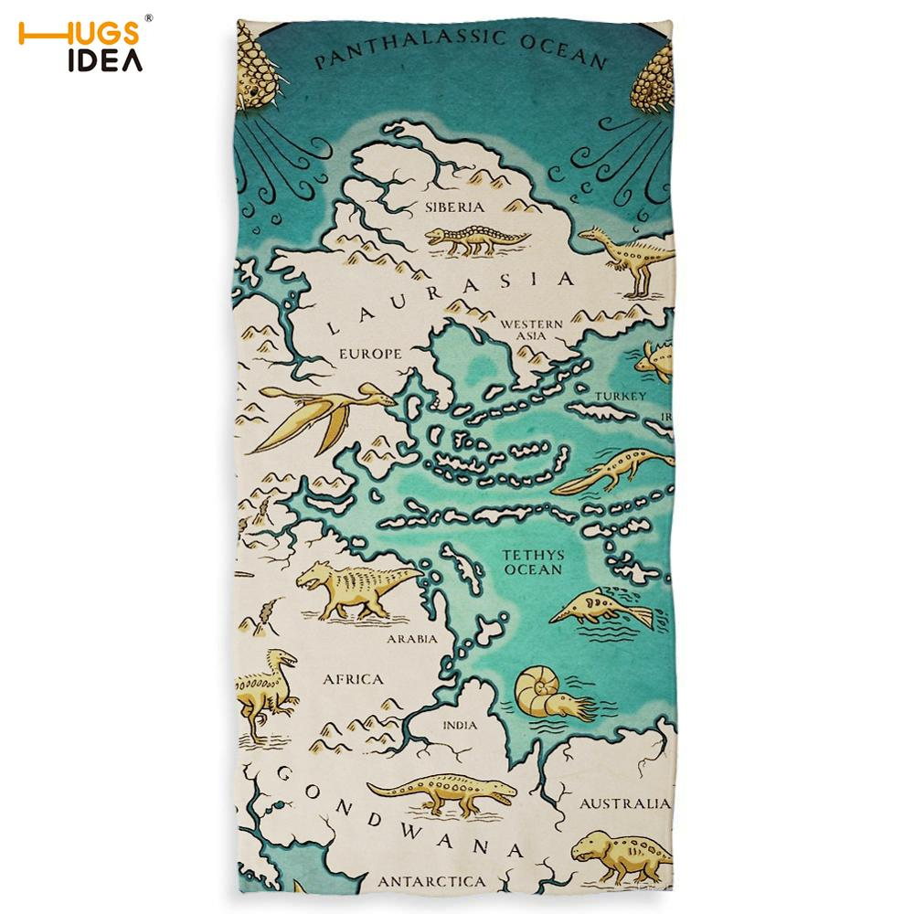 HUGSIDEA Vintage Map Beach/bath Fiber Towel Whole Supercontinent Pangaea/Havana Cuba/ Geographic Hydrographic Dry Up Blanket image