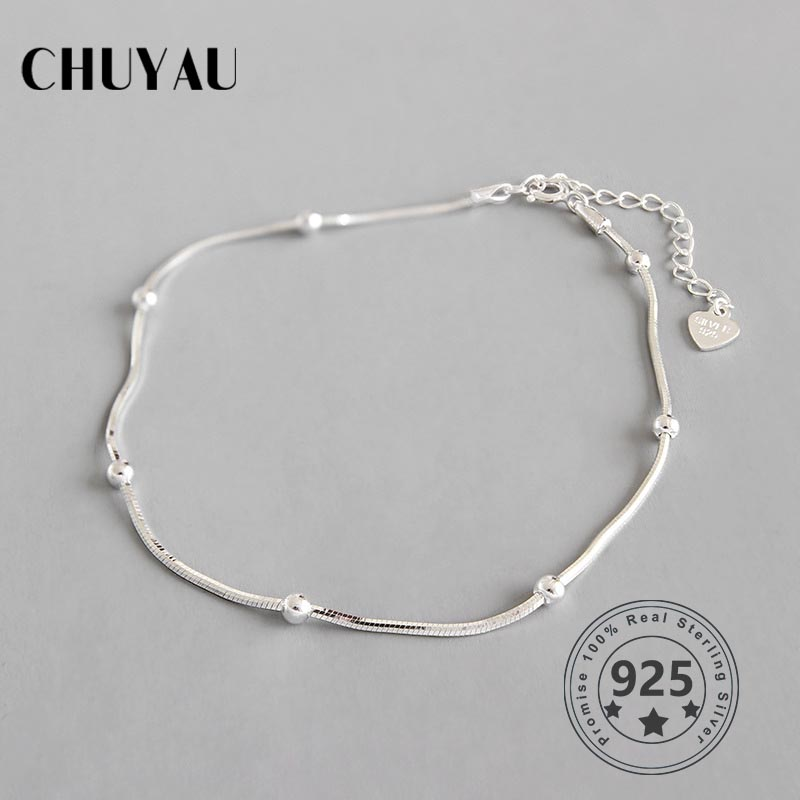 Chuyau 925 sterling silver round bead Snake chain anklets romantic shaped chain adjustable anklets for women summer jewelry