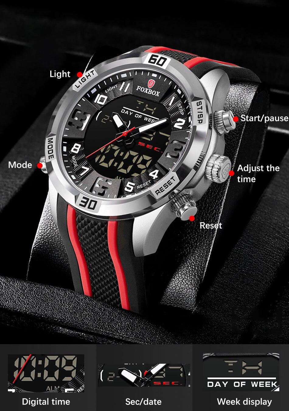 H372e7e32d9024734a1489cf90136adedC Watch For Men FOXBOX Top Brand Luxury Dual Display