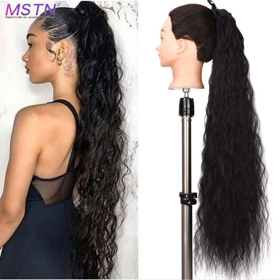 MSTN Synthetic Long Wave Curly Clip In Ponytail Black Blonde Hair Extension Ombre Heat Resistant Pony Tail Fake Hair Extensions