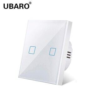 UBARO переключатель стандарт ЕС/Великобритании белый кристалл стеклянная панель светильник сенсорный выключатель AC220v 2 банды 2 стороны насте...