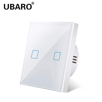 UBARO  EU/UK Standard White Crystal Glass Panel Wall Light Touch Switch Sensor Button Power Home Switches AC220V 2 Gang 2 Way ievon luxury wall touch sensor switch eu uk standard light gray crystal glass touch switch power 1 2 3 gang 1 way ac 220