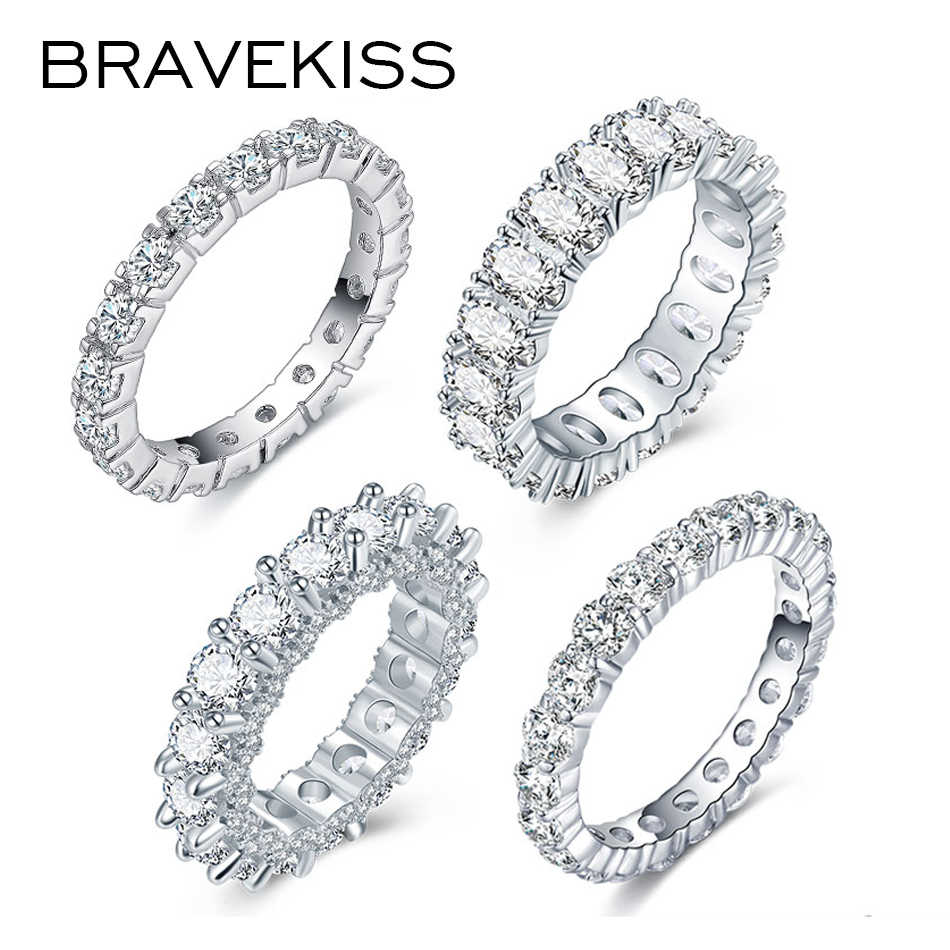 Bravkis Wedding Bands Eternity Ringen Met Zirconia Voor Vrouwen Cz Crystal Promise Engagement Finger Ring Bague Sieraden BUR0279