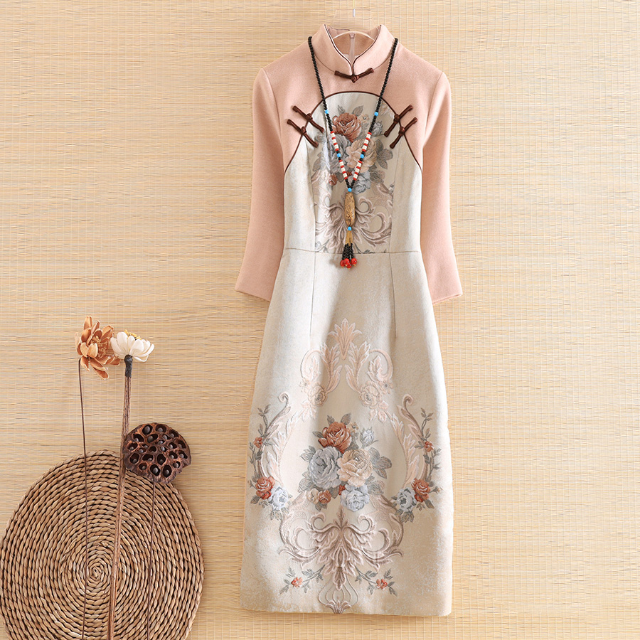 High-end Floral Autumn Women Chinese Style Midi Dress Jacquard Splice Wool Dresses Elegant Slim Lady Qipao Party Dress S-XXL