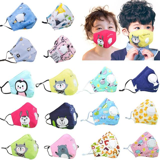 PM2.5 Face Children Mask Respiratory Valve Cartoon Panda Mask Washable Filter Pad Pollution Activated Carbon Filter kids Masks