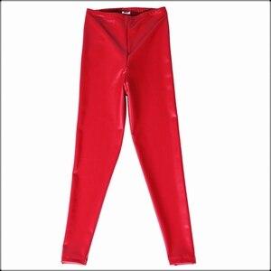 Image 5 - Pantalones pitillo de piel sintética de látex rojo para mujer, Leggings sexys de entrepierna abierta, de cintura alta, con cremallera Invisible, ajustados, personalizados, color negro