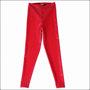 Image 5 - Sexy Red Latex PU Faux Leather Skinny Pants Open Crotch Leggings Women High Waist Invisible Zipper Black Custom Slim Trousers