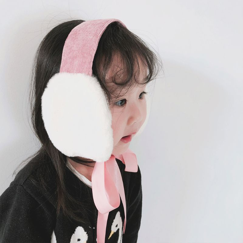 Children Girls Boys Winter Thicken Plush Earmuffs Outdoor Sweet Foldable Portable Ear Warmer Headband With Ribbon Tie 2-8T DXAA