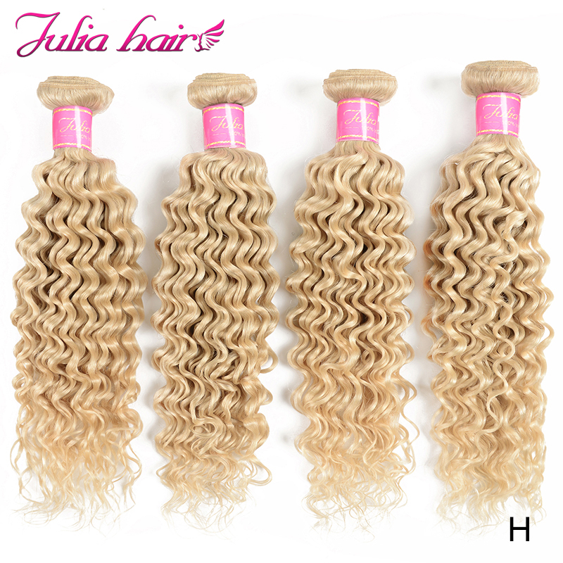 Ali Julia Hair #613 Color 10 to 24 Inch High Ratio Brazilian Deep Wave Human Hair Bundles Blonde Double Weft Weave Remy Hair image
