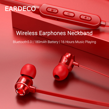 EARDECO Bluetooth Earphone Neckband 5.0 Stereo Wireless Earphones Headphones HiFi Magnetic Earbuds Noise Cancelling For Phone dacom l02 dual drivers neckband running bluetooth headphone 4 1 ipx5 waterproof stereo cvc noise cancelling wireless earphones