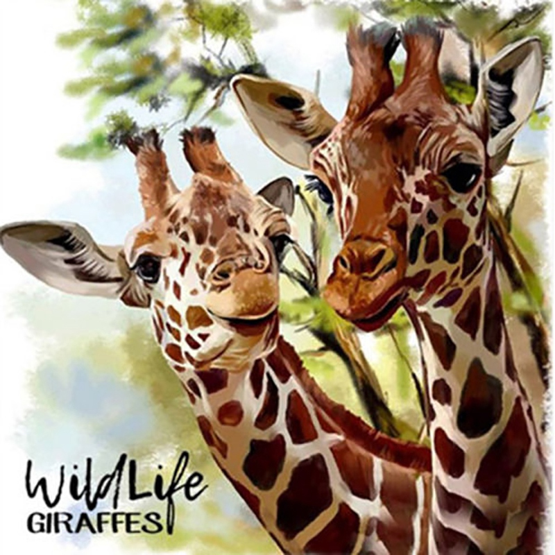 Diy 5D Diamond Painting Embroidered Floral Animal Cross Crafts Stitching Kit Decorating A Pair Of Giraffes