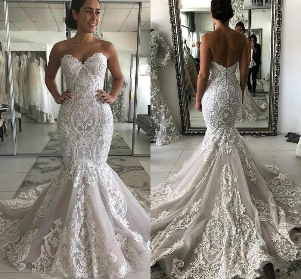 Luxury Lace Applique Mermaid Wedding Dresses 2020 Modern Sweetheart Ruffles Cathedral Train Trumpet Backless Bride Wedding Gown