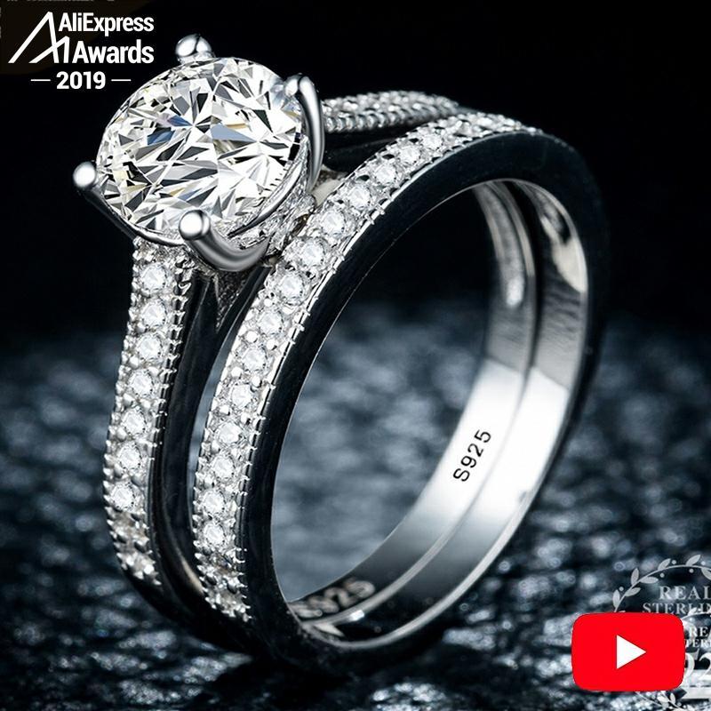 3.28 SALE Sona S925 Sterling Silver Ring I Love Mom SONA Diamond VS Clarity 1.25 Carat Luxury Wedding Engagement 2pc Unique